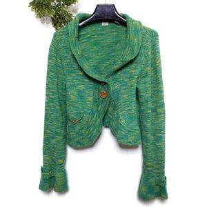 Anthropologie HWR Sweater Large Green Marled Wool